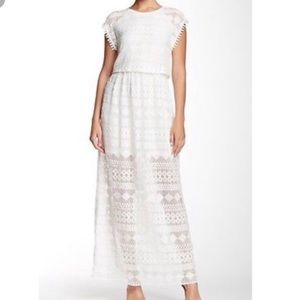Anthropologie Everleigh white lace gown maxi